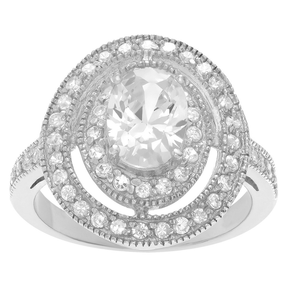 4 1/2 CT. T.W. Oval-cut CZ Prong Set Engagement Ring in Sterling Silver - Silver, 8, Girl's