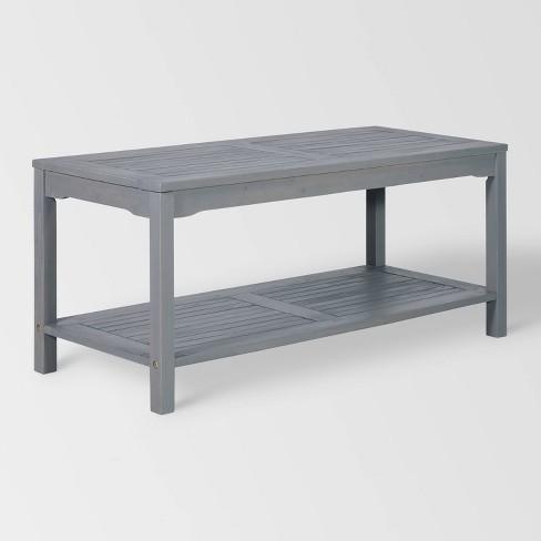 Ravenscroft Modern Boho Acacia Wood Slatted Outdoor Coffee Table With Lower Shelf Gray Wash Saracina Home Target