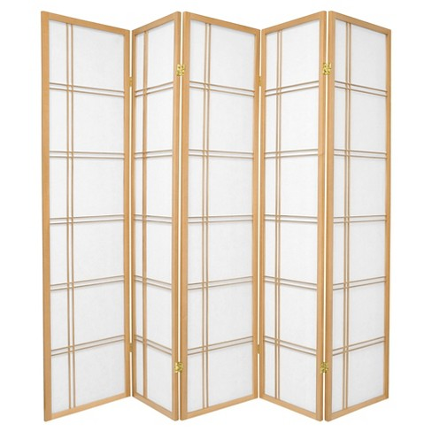6 ft. Tall Double Cross Shoji Screen - Natural (5 Panels) - image 1 of 1