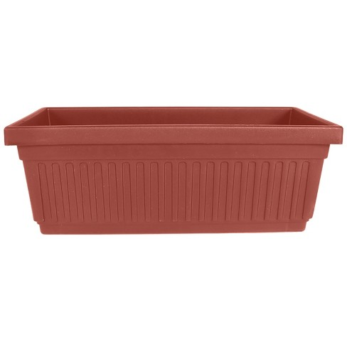 HC Companies 24 Inch Long Fluted Plastic Venetian Garden Window Container Planter Box for Indoor or Outdoor Flowers, Vegetables, or Succulents (Clay) - image 1 of 2