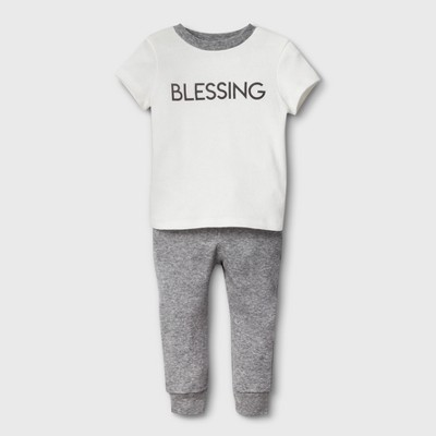 Weekend Soul Baby Blessed Footed Sleeper - Ivory 3-6M
