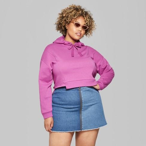 83c21ee49e553 Women s Plus Size Cropped Step Hem Hoodie - Wild Fable™ Fuchsia 2X   Target