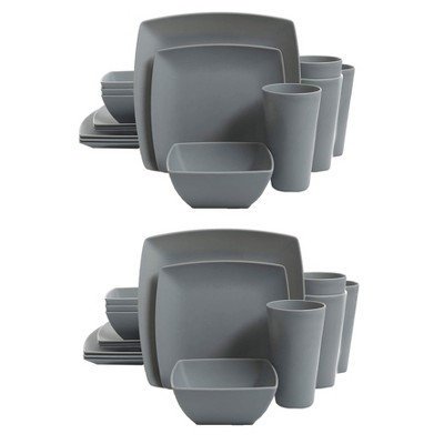 Gibson Home Soho Grayson Square Melamine Everyday 16 Piece Reactive Glaze Dinnerware Set Plates, Bowls, and Cups, Dishwasher Safe, Grey (2 Pack)