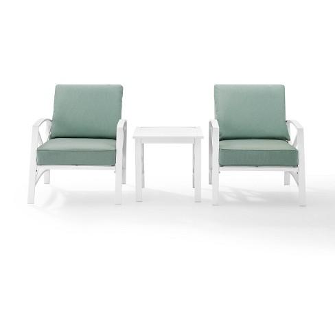Kaplan 3pc Outdoor Chat Set - White - Crosley - image 1 of 4
