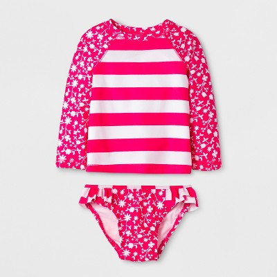 Baby Girls' Long Sleeve Floral Stripe Rash Guard Set - Cat & Jack™ Pink 12M