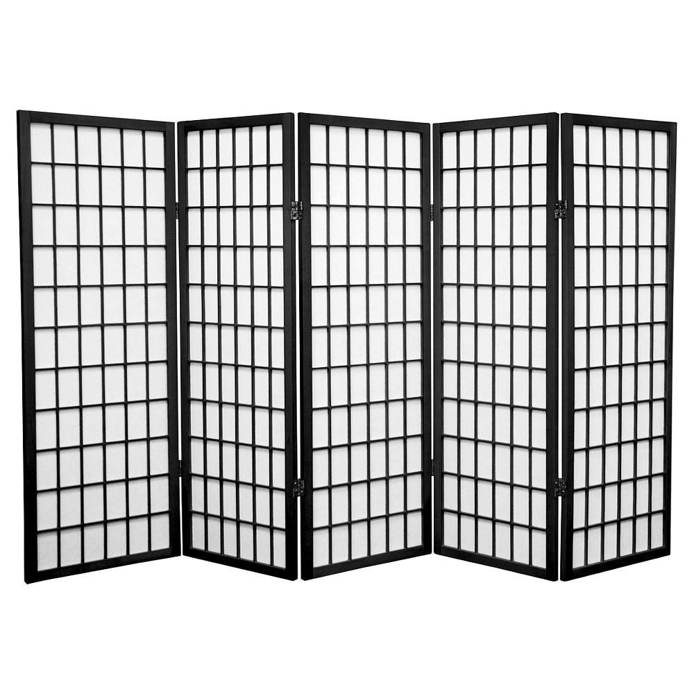 4 ft. Tall Window Pane Shoji Screen - Black (5 Panels)