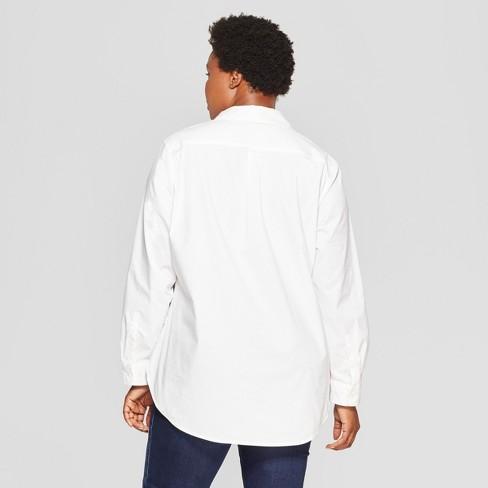eb77e2530b5ea7 Women's Plus Size No Gap Button-Down Long Sleeve Shirt - Ava & Viv™ White :  Target