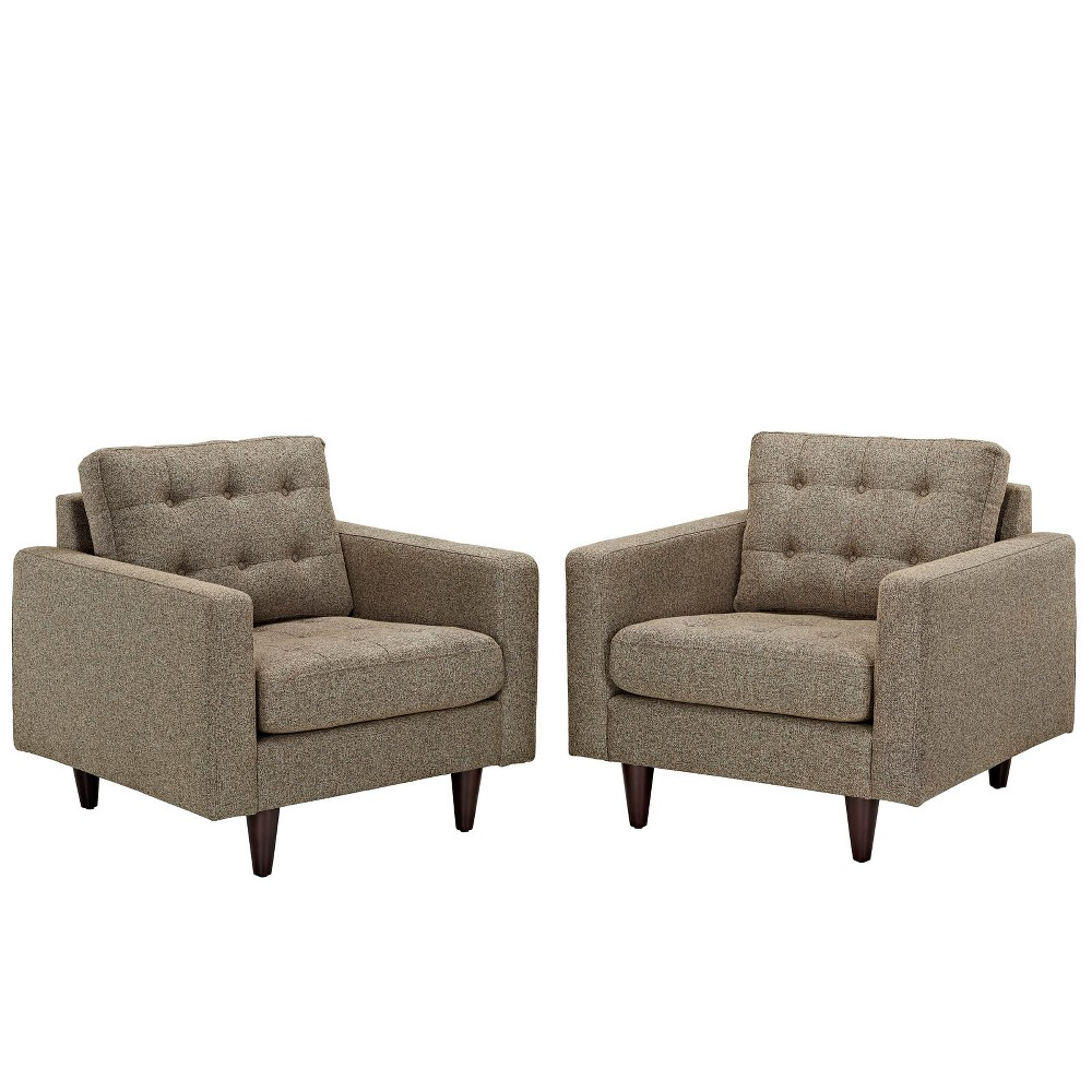 Empress Armchair Upholstered Set of 2 Oatmeal - Modway
