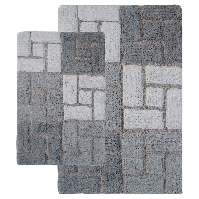 Berkely 2 - Pc. Bath Rug Set Gray & White - Chesaepeake Merch Inc.®