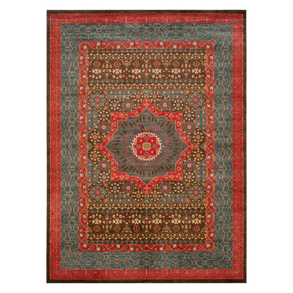 Medallion Area Rug Navy/Red