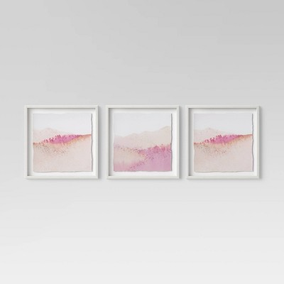 """(Set of 3)20"""" x 20"""" Pink Abstract Framed Print - Project 62™"""
