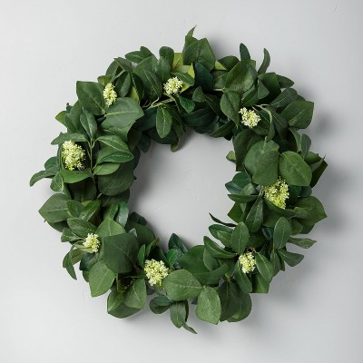 "24"" Faux Skimmia & Perilla Leaf Wreath - Hearth & Hand™ with Magnolia"