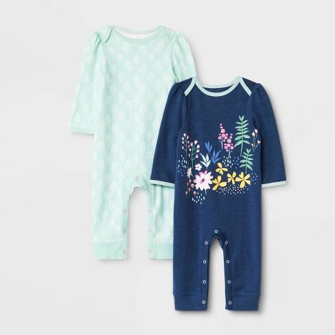 Baby Girls' 2pk Little Wildflower Rompers - Cloud Island™ - image 1 of 1