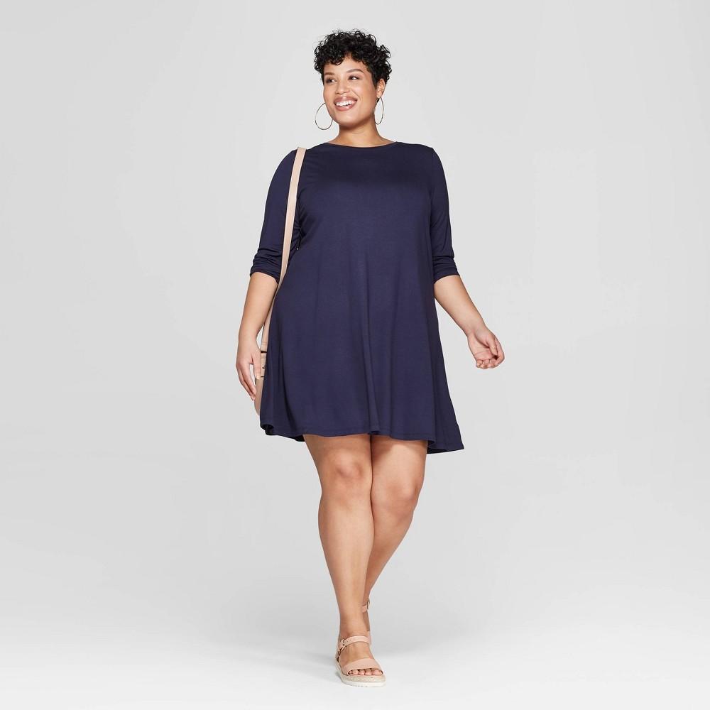 Women's Plus Size Long Sleeve Scoop Neck Knit Swing Dress - Ava & Viv Navy (Blue) 2X