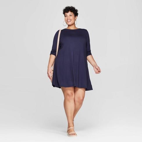 70271d4dd23d Women's Plus Size Long Sleeve Scoop Neck Knit Swing Dress - Ava & Viv™ Navy  1X : Target