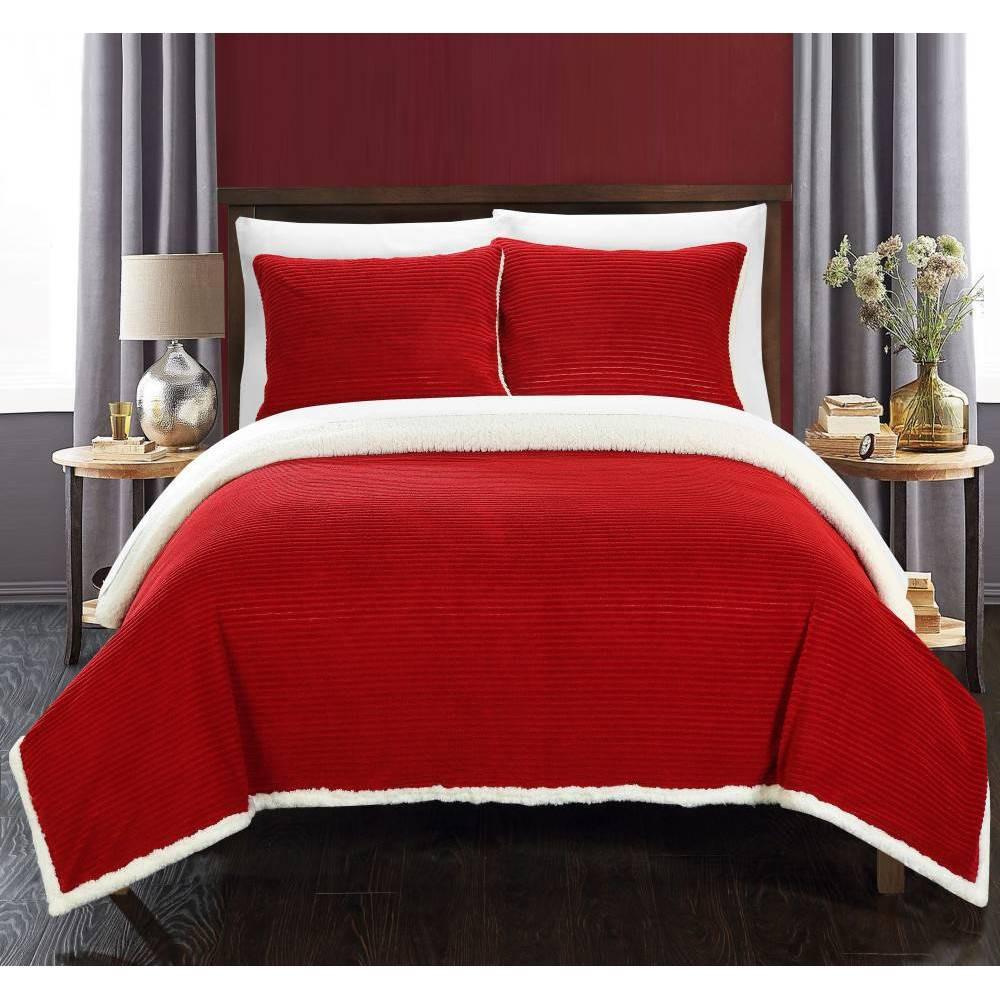 Image of 3pc Full/Queen Estonia Sherpa Blanket Set Marsala - Chic Home Design