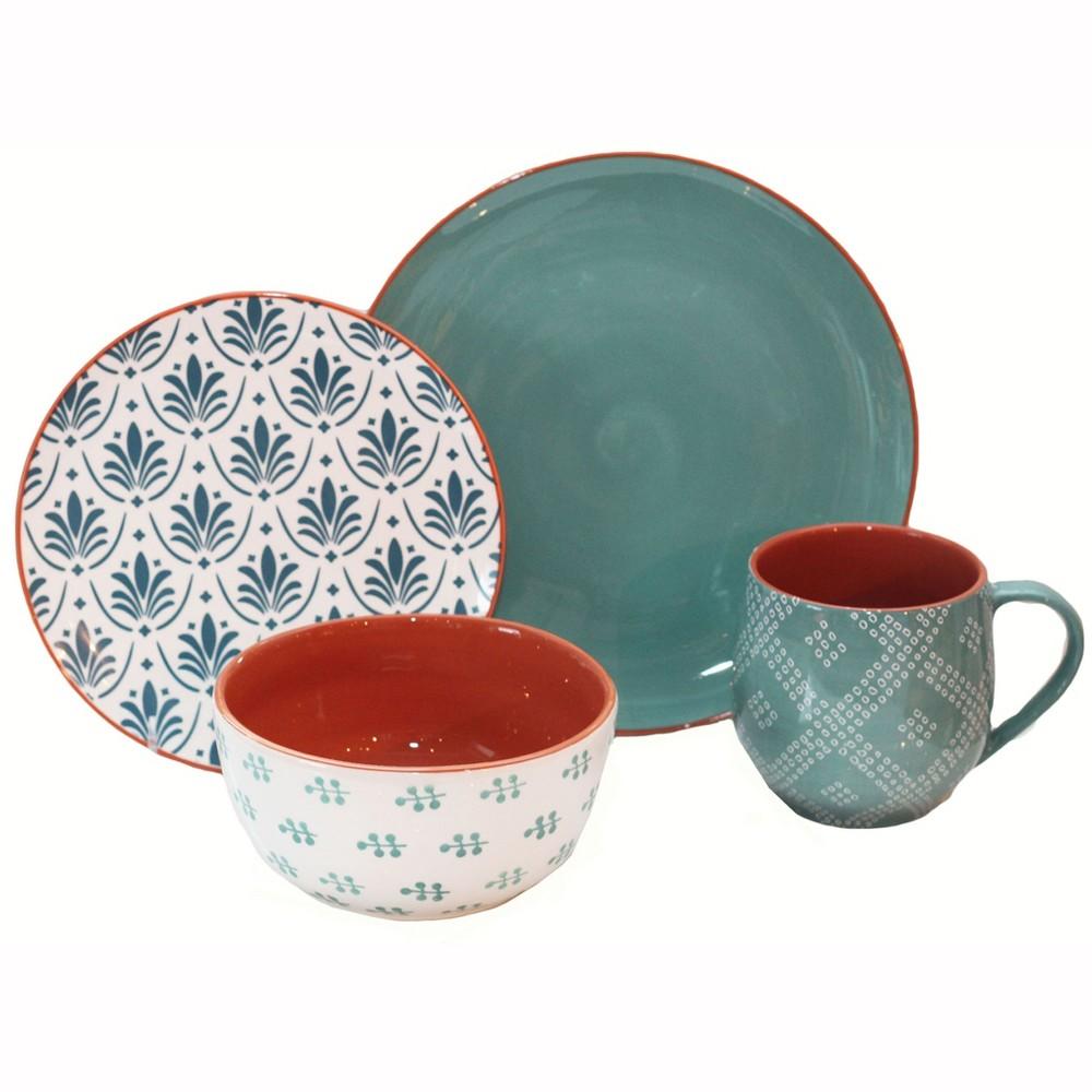Image of 16pc Stoneware Oasis Dinnerware Set Baum Bros., White Blue