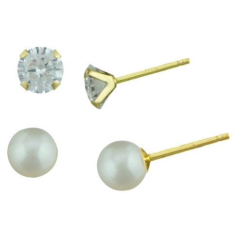 3mm Round Cubic Zirconia Round Pearl Stud Earrings Set in 10K Yellow Gold - image 1 of 1