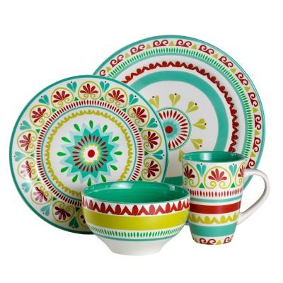 16pc Earthenware Alecante Dinnerware Set Green/Red - Euro Ceramica