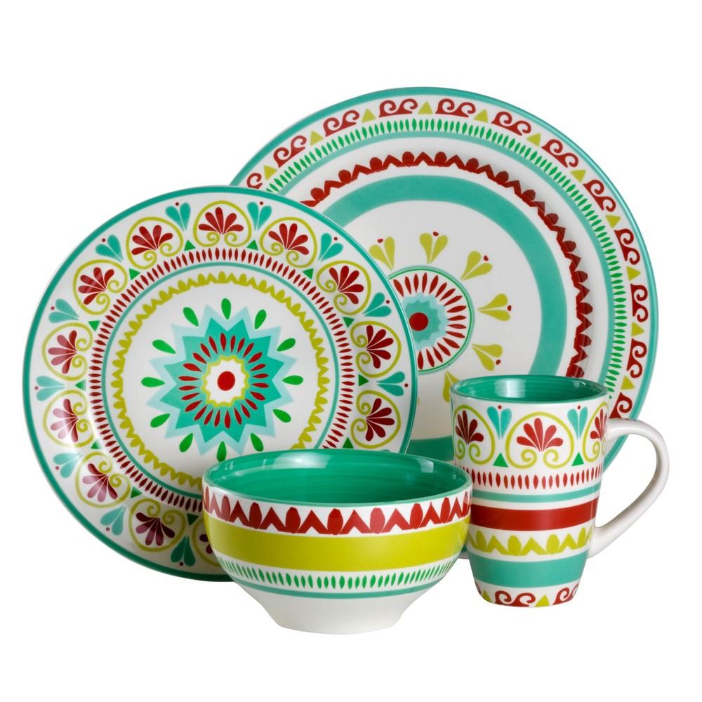 Image of 16pc Earthenware Alecante Dinnerware Set Green/Red - Euro Ceramica