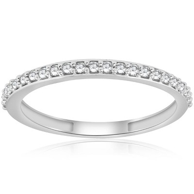 Pompeii3 1/8ct Stackable Womens Diamond Wedding Ring 10k White Gold
