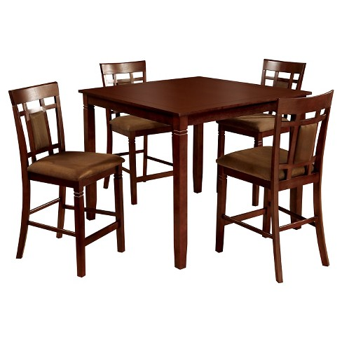 miBasics 5pc Gridded And Padded Back Chair And Dining Table Set Wood/Dark Cherry - image 1 of 2