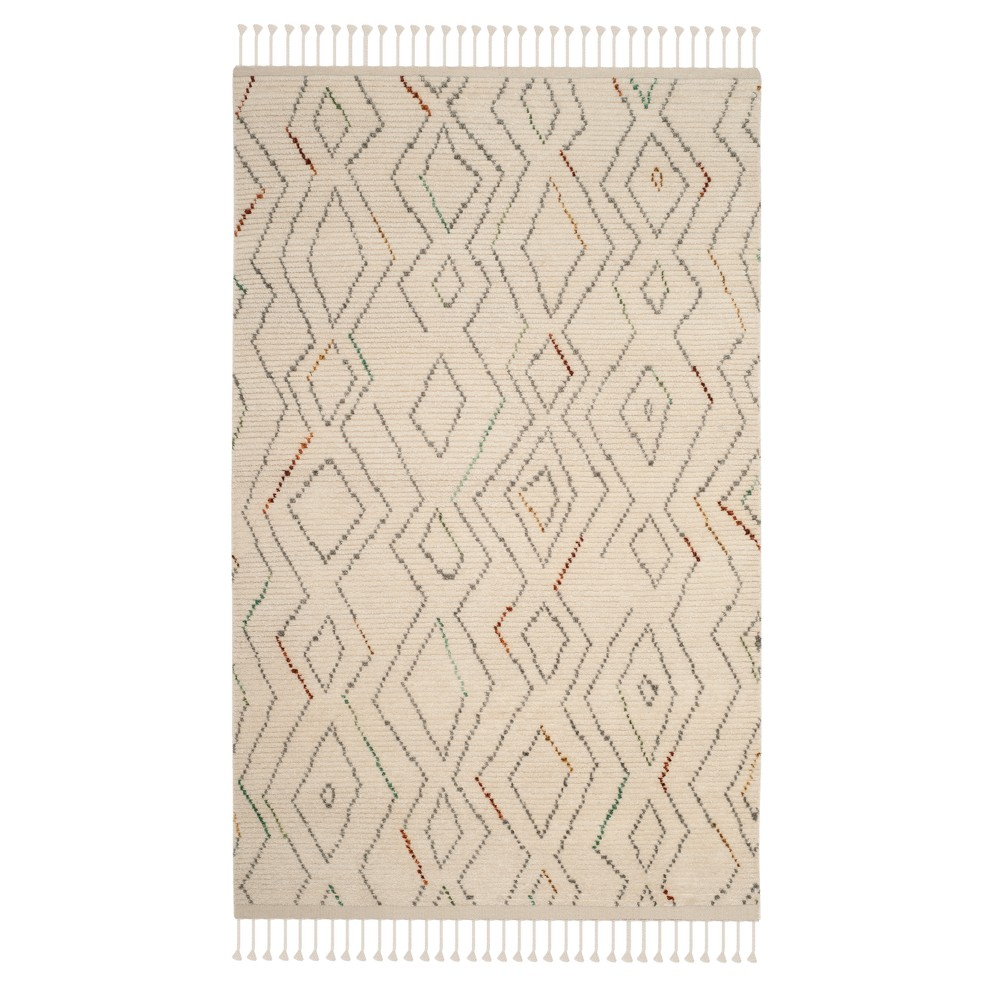 Tribal Design Knotted Area Rug 5'X8' - Safavieh, Ivorynmulti-Colored