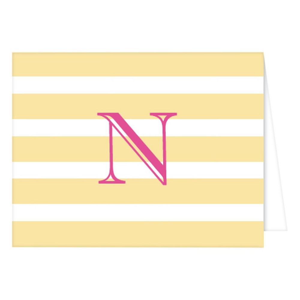 RosanneBECK Collections Pastel Yellow Folded Notes - Cabana Stripe Monogram - N