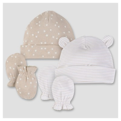 Baby's 2 Caps and 2 Mittens Set - Giraffe 0-6M - Gerber®