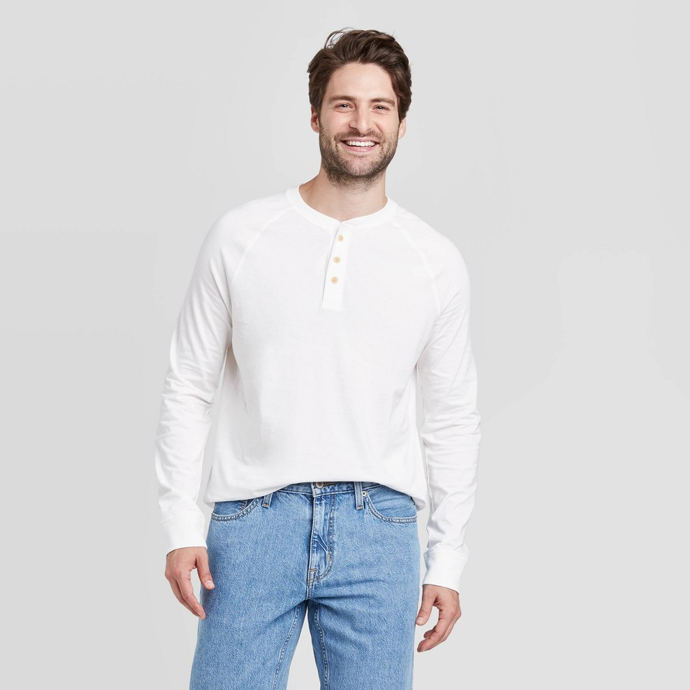 1920s Fashion for Men Mens Standard Fit Long Sleeve Henley Jersey T-Shirt - Goodfellow  Co White 2XL $14.99 AT vintagedancer.com