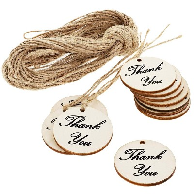 100-Pack Thank You for Celebrating with Us - Wood Tags with Twine for Wedding and Baby Shower Party Favors, 1.5 inches