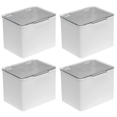 mDesign Plastic Stackable Household Storage Bin with Lid - 4 Pack