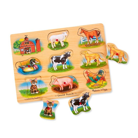 Melissa And Doug Farm Wooden Peg Sound Puzzle 8pc image number null