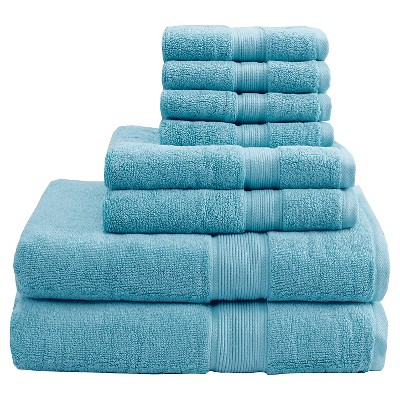 8pc Bath Towel Set Aqua