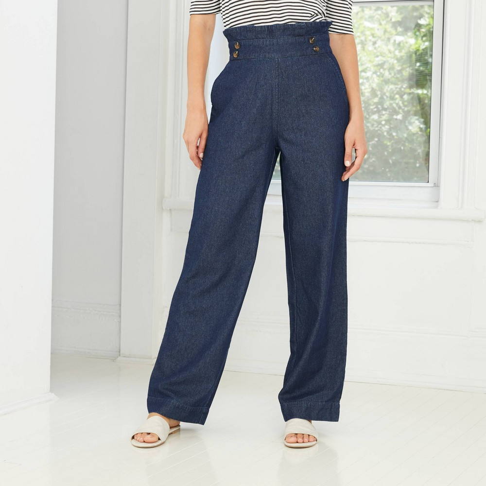 Vintage High Waisted Trousers, Sailor Pants, Jeans Womens High-Rise Wide Leg Pants - Who What Wear Blue 16 $34.99 AT vintagedancer.com