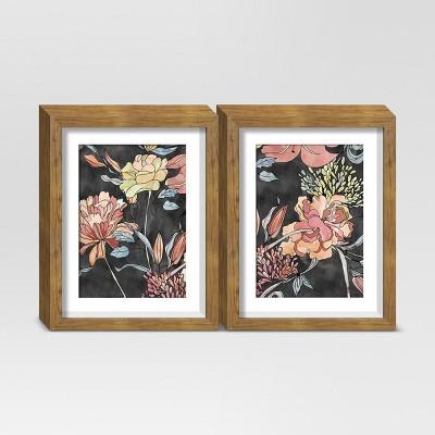 Framed Floral Wall Print Black/Orange 11 x14  2pk - Threshold™