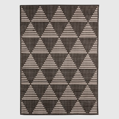 Pyramid Tile Outdoor Rug Black - Project 62™