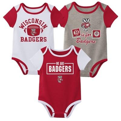 NCAA Wisconsin Badgers Baby Boys' Short Sleeve 3pc Bodysuit Set
