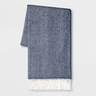 Woven Herringbone Throw Blue/Cream - Threshold™