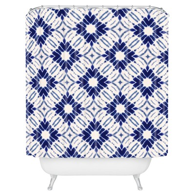 Mosaic Diamond Shower Curtain Blue - Deny Designs