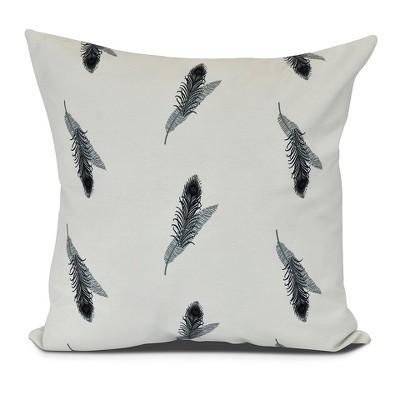 Feather Stripe Floral Print Pillow