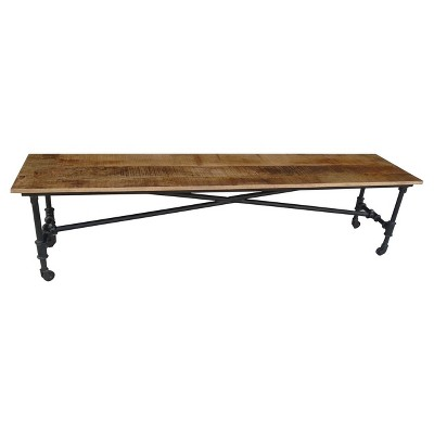 """Reclaimed 71"""" Wood Bench with Iron Wheels - Timbergirl"""
