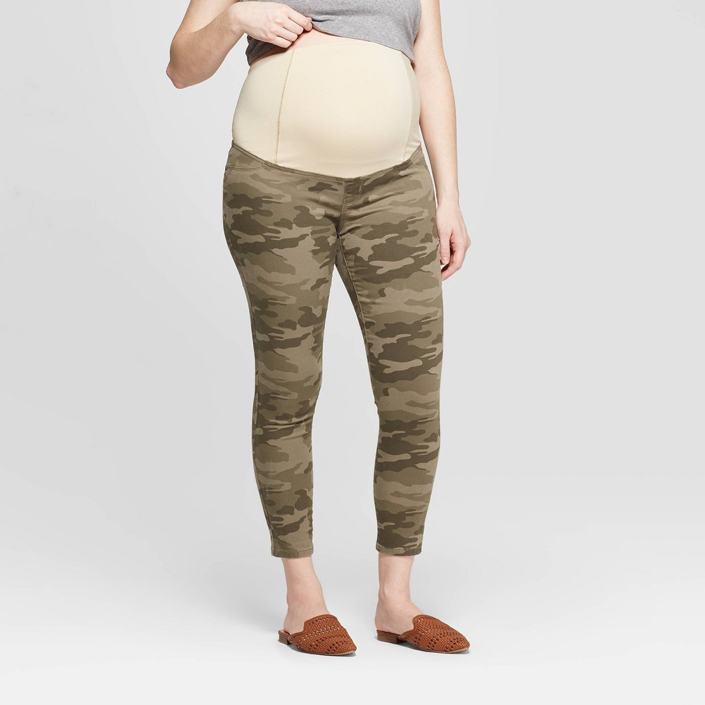 d9689b2a22ddd Maternity Camo Print Crossover Panel Skinny Crop Jeans Isabel Maternity by Ingrid  Isabel Olive 4 Womens Green