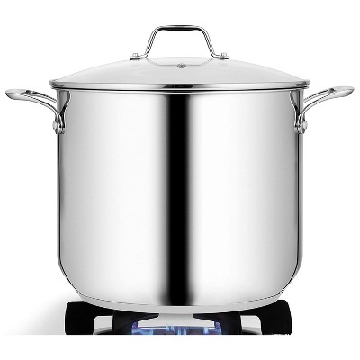 NutriChef Commercial Grade Heavy Duty 12 Quart Stainless Steel Stock Pot with Riveted Ergonomic Handles and Clear Tempered Glass Lid