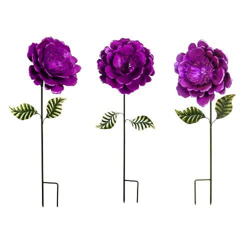 "40"" Flower Metal Garden Stake Purple - Evergreen - image 1 of 2"