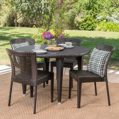Whitney 5pc Wicker Dining Set - Brown - Christopher Knight Home - image 1 of 4
