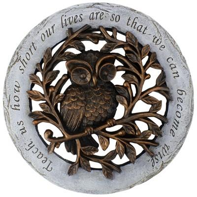 "Roman 12"" Round Wise Owl Outdoor Garden Stepping Stone - Bronze/Gray"
