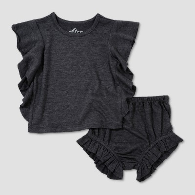 Baby Girls' Afton Street Top and Bottom Set - Charcoal Heather 3-6M