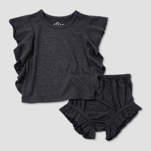 0f9fa98380ca Baby Girls  Afton Street Top and Bottom Set - Charcoal Heather 6-9M ...