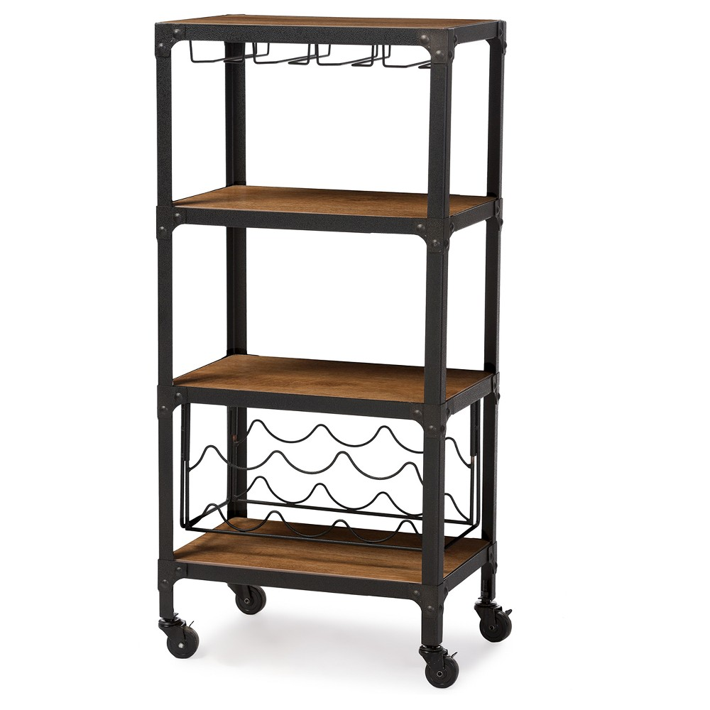 Swanson Rustic Industrial Style Antique Black & Metal Distressed Wood Mobile Kitchen Bar Wine Storage Shelf - Baxton Studio, Brown